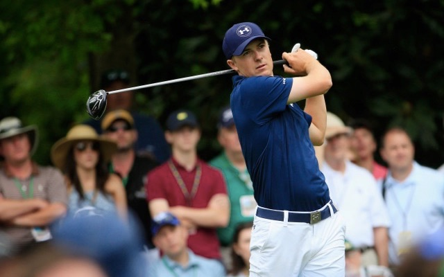 AUGUSTA, GA - APRIL 12:  Jordan Spieth of the United States watches his tee shot on the seventh hole during the final round of the 2015 Masters Tournament at Augusta National Golf Club on April 12, 2015 in Augusta, Georgia.  (Photo by Jamie Squire/Getty Images)