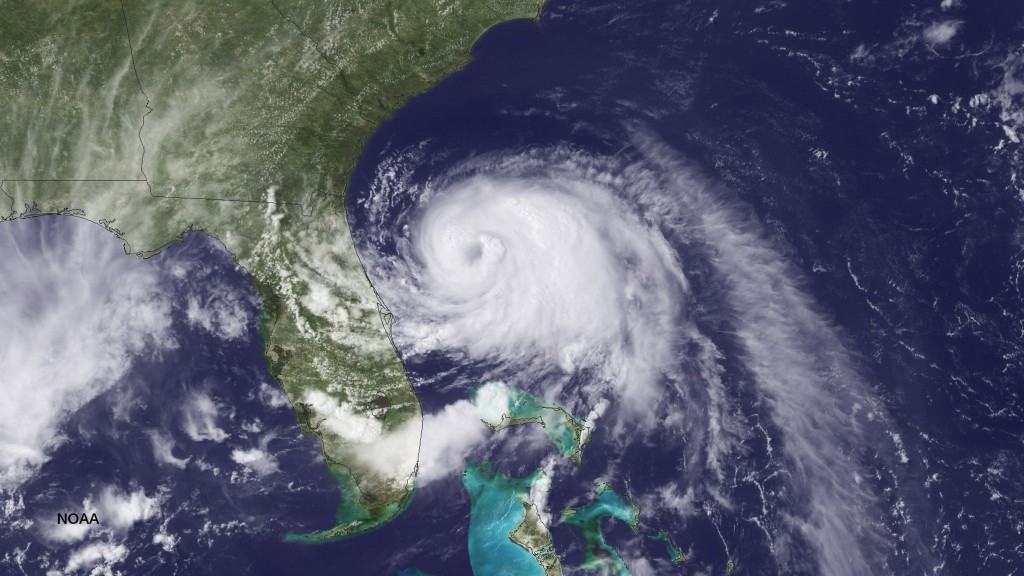 ORG XMIT: 500313497 UNITED STATES - JULY 2: In this handout provided by the National Oceanic and Atmospheric Administration (NOAA) from the GOES-East satellite, Tropical Storm Arthur travels up the east coast of the United States in the Atlantic Ocean pictured at 19:45 UTC/GMT on July 2, 2014. According to reports, Arthur, now with maximum sustaned winds of 70 mph, has begun moving steadily northward is expected to strike the North Carolina Outer Banks over the Fourth of July holiday. Arthur is expected to become a hurricane by July 3. (Photo by NOAA via Getty Images)